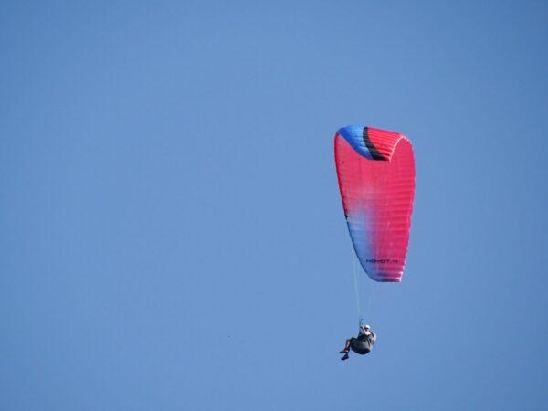 La Niviuk koyot 4 XL couleur prime, rouge et bleu, en vol.