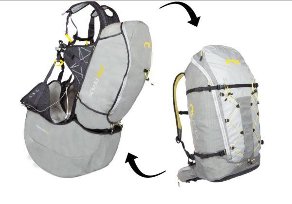 La niviuk Roamer 2 ouverte et en mode sac de portage