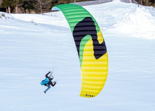 Une zoe en vol au dessus de la neige