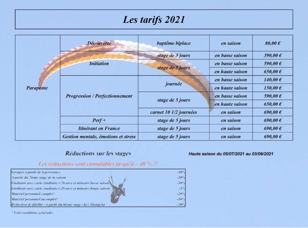 Les tarifs de Thang-Ka pour l'année 2021